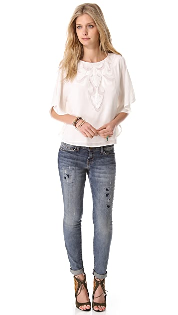 Haute Hippie Embroidered Cutout Top