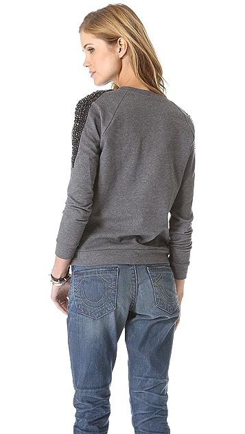 Haute Hippie Crystal Epaulette Sweatshirt