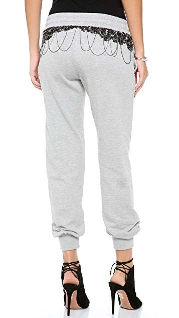 Haute Hippie Metal Embellished Sweatpants
