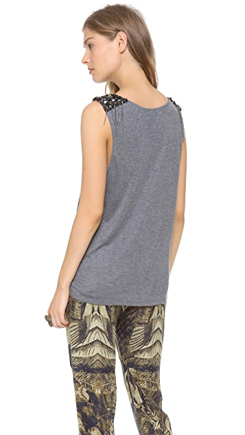 Haute Hippie Chain Embellished Muscle Tee