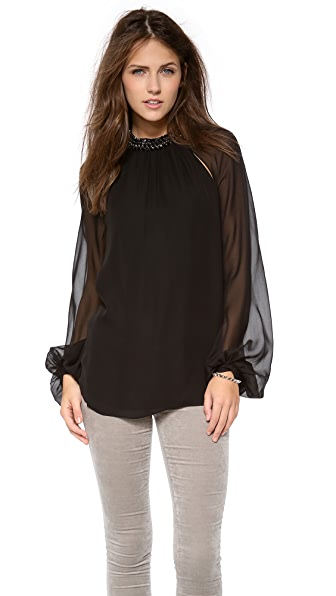 Haute Hippie Crystal Collar Blouse