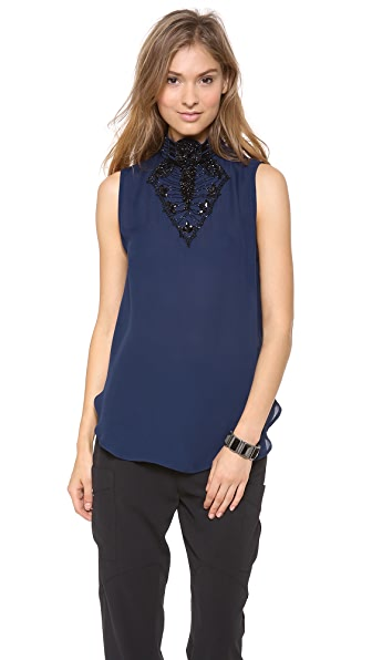 Haute Hippie Embellished Neck Blouse