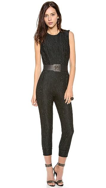 Haute Hippie Belted Lace Jumpsuit