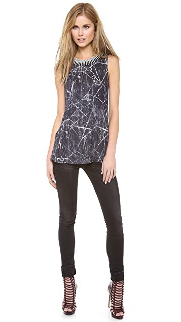 Haute Hippie Embellished Collar Muscle Tank