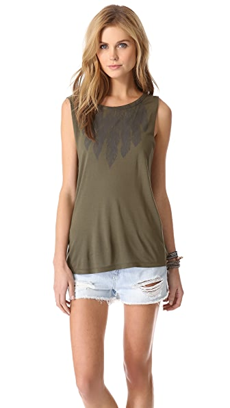 Haute Hippie Feather Muscle Tank