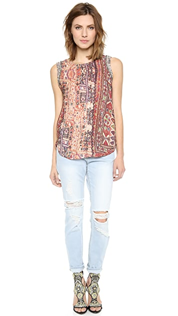 Haute Hippie Print Muscle Tee with Beading