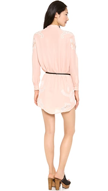 Haute Hippie Shirt Dress with Lace Shoulders