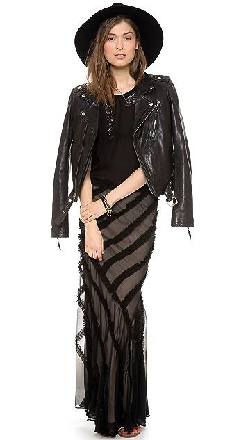 Haute Hippie Gathered Strip Maxi Skirt
