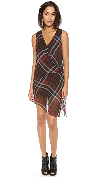 Haute Hippie Jillian Plaid Asymmetrical Crossover Dress