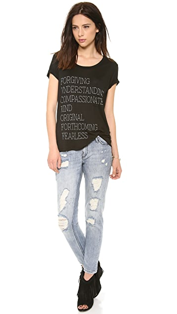 Haute Hippie Scoop Neck Pocket Tee