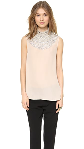 Haute Hippie Embellished High Neck Blouse