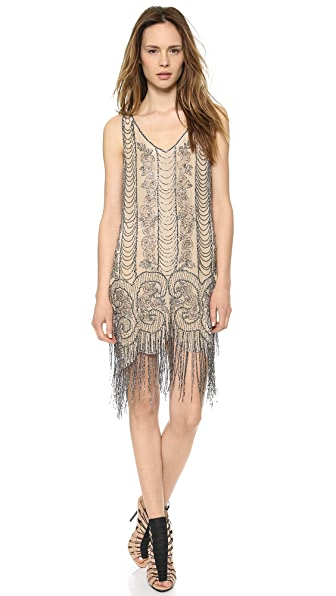 Haute Hippie V Neck Embellished Fringe Dress