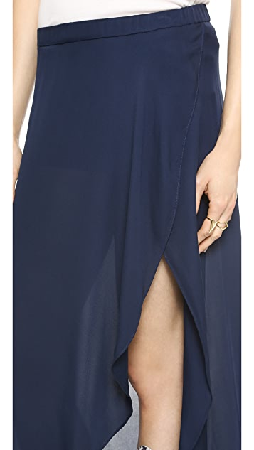 Haute Hippie Maxi Slit Skirt with Shorts Lining