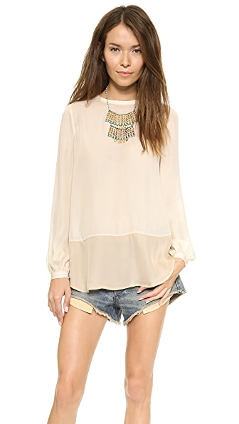 Haute Hippie Long Sleeve Colorblock Blouse