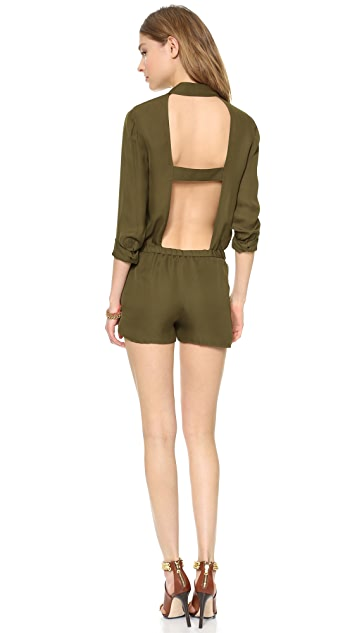 Haute Hippie Long Sleeve Open Back Romper