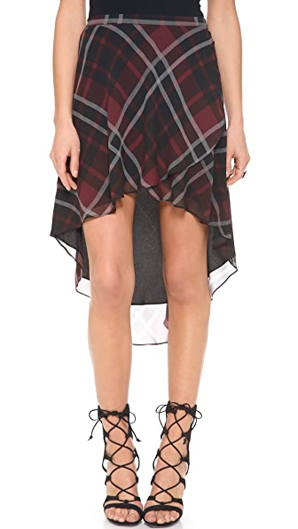Haute Hippie Flowy Plaid Silk Skirt