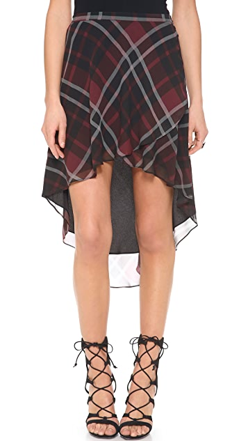 Haute Hippie Flowy Plaid Silk Skirt