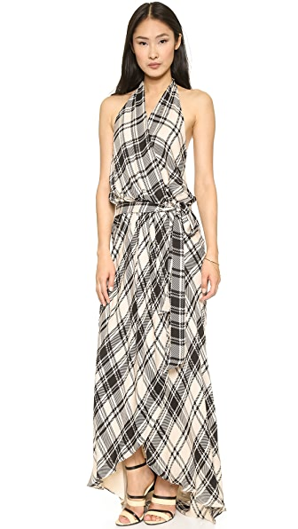 Haute Hippie Crossover Plaid Halter Gown