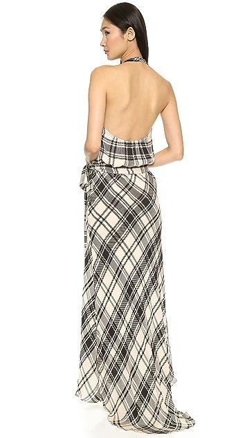 Haute Hippie Crossover Plaid Halter Gown