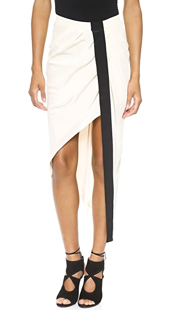 Haute Hippie Asymmetrical Skirt with Tux Stripe