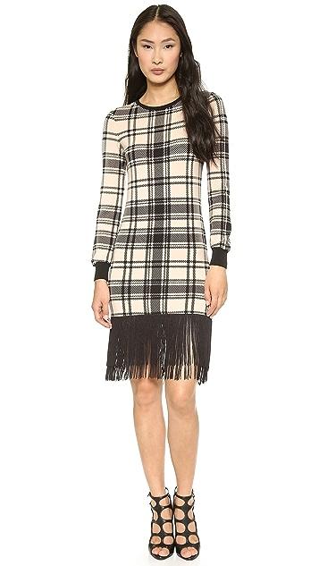 Haute Hippie Plaid Sweatshirt Dress with Fringe