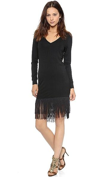 Haute Hippie Sweatshirt Dress with Fringe