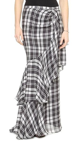 Haute Hippie Plaid Side Tuck Maxi Skirt