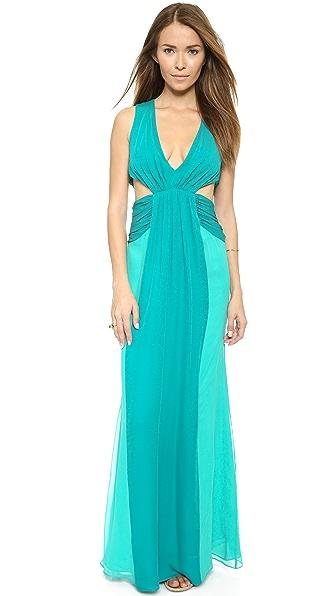 Kupi Haute Hippie online i prodaja Haute Hippie Colorblock Chiffon Gown Turqoise/Aqua haljinu online