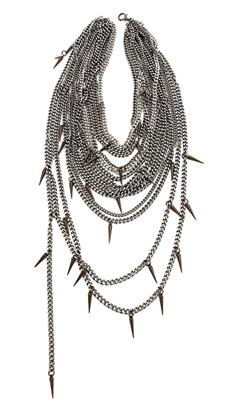 Haute Hippie Chain & Spike Layered Necklace