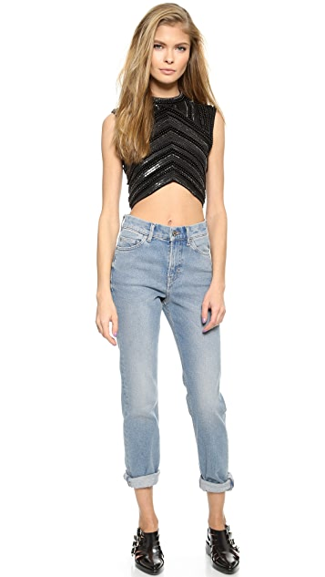 Haute Hippie High Neck Embellished Top