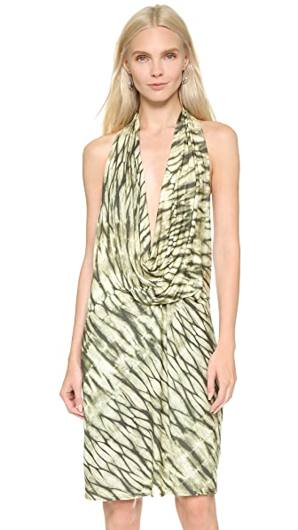 Shop Haute Hippie online and buy Haute Hippie Cowl Neck Halter Dress Stripe Cheetah Tie Dye dresses online