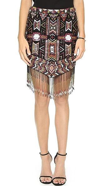 Haute Hippie Embellished Fringe Skirt