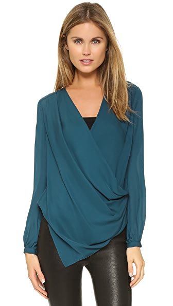 Haute Hippie Draped Crossover Blouse