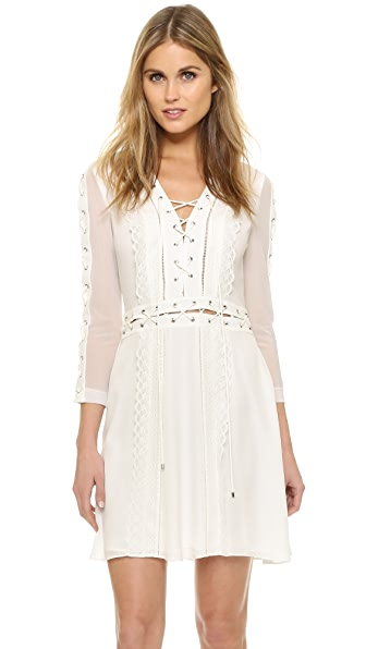 Haute Hippie Lace Up Long Sleeve Dress