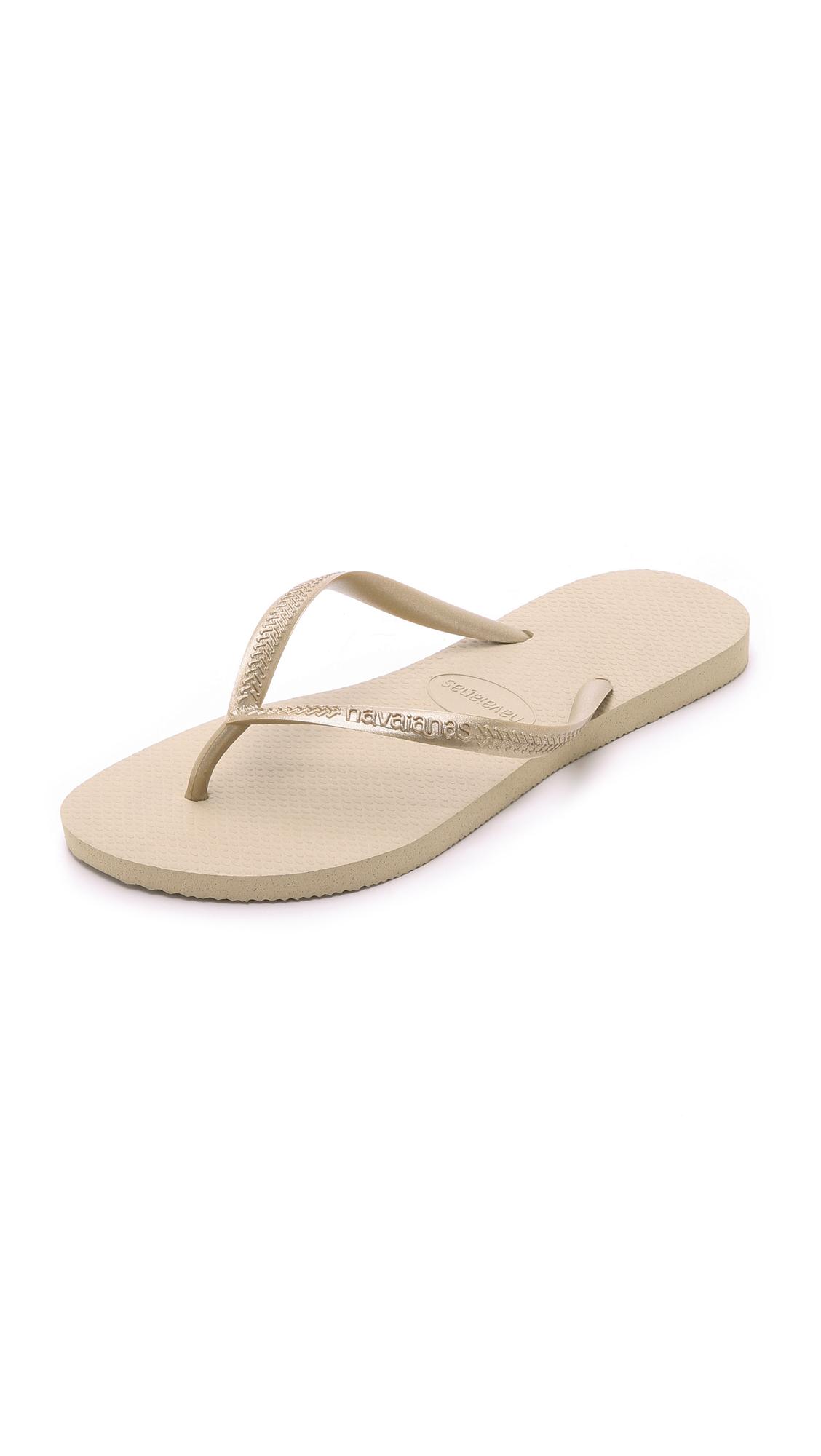 Havaianas Slim Flip Flops - Sand Grey/Light Golden at Shopbop