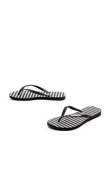 Havaianas Slim Stripe Metal Logo Flip Flops