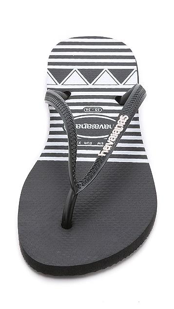 Havaianas Slim Logo Stripes Flip Flops