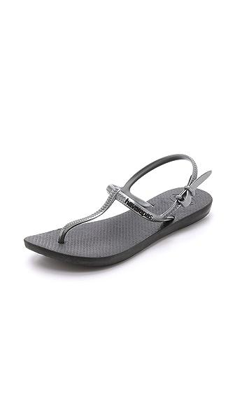 Havaianas Freedom T Strap Sandals - Black/Graphite