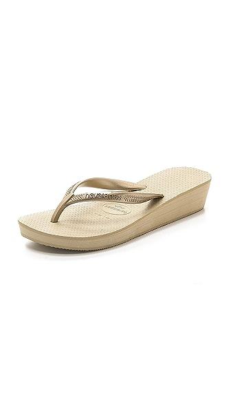 Havaianas High Light Wedge Flip Flop - Sand Grey/Light Golden at Shopbop