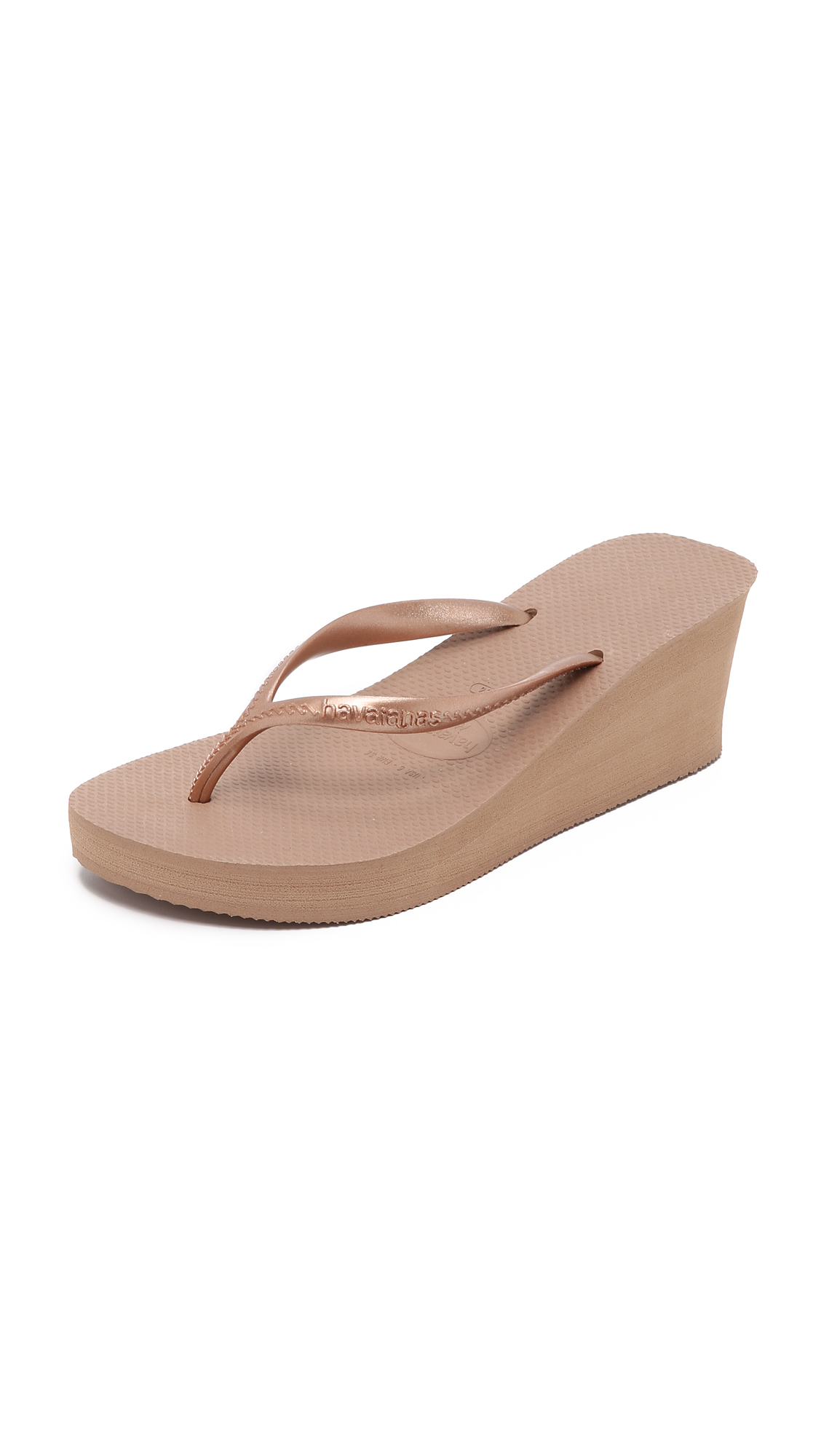 Havaianas High Fashion Wedge Flip Flops - Rose Gold at Shopbop