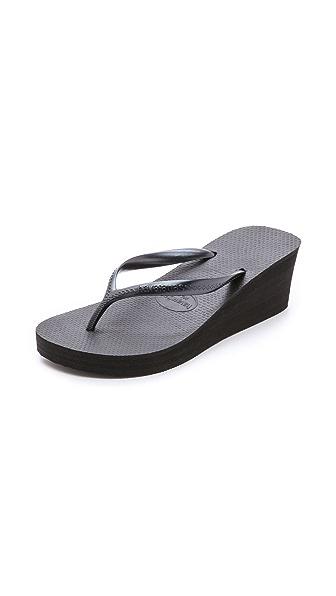 Havaianas High Fashion Wedge Flip Flops - Black