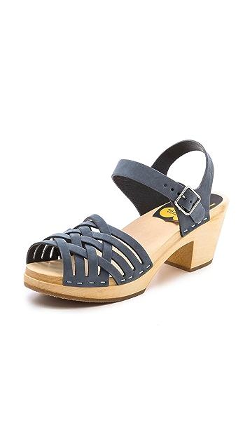 Swedish Hasbeens Braided High Sandals