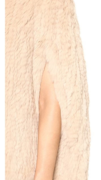 H Brand Stella Hand Knit Rabbit Fur Cape