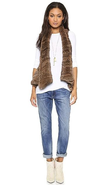 H Brand Indie Hand Knit Rabbit Fur Crop Vest