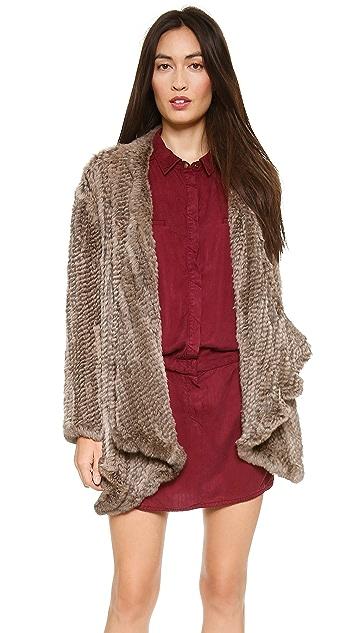 H Brand Ashleigh Hand Knit Rabbit Fur Coat