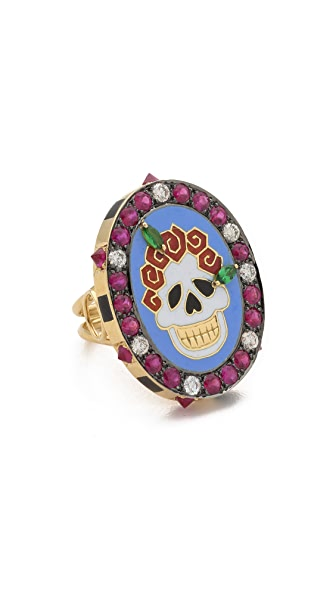 Holly Dyment Sunday Enamel Skull Ring
