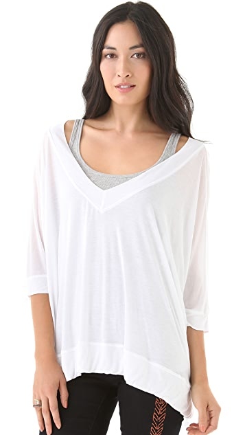 Heather Boxy V Neck Shirt