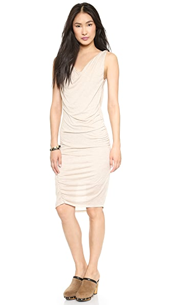 Heather Double Cowl Neck Cascade Dress