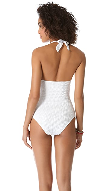 Heidi Klein Button Halter One Piece Swimsuit