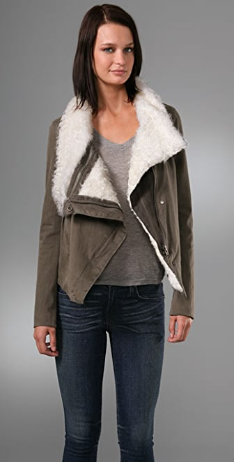 Helmut Lang Denim Square Shoulder Shearling Jacket